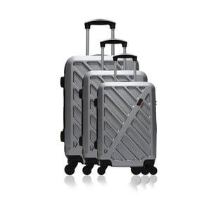 Sada 3 sivých cestovných kufrov na kolieskach Hero Roma