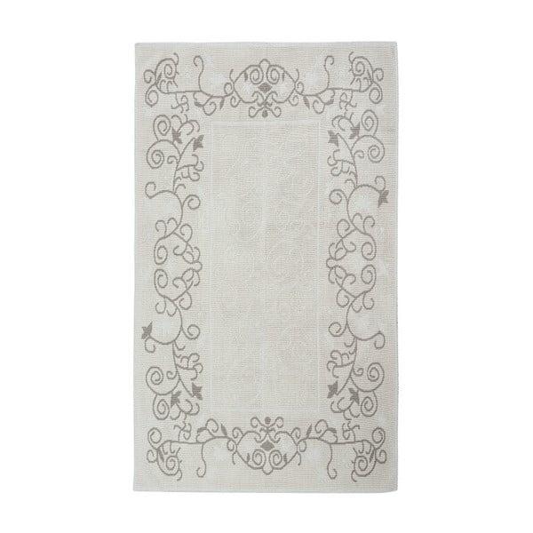 Krémový bavlnený koberec Floorist Floral, 80x300cm