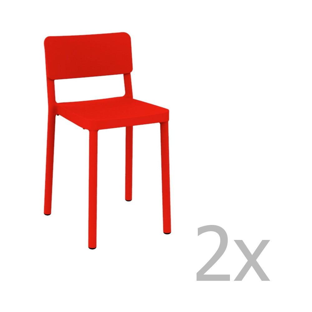 Sada 2 červených barových stoličiek vhodných do exteriéru Resol Lisboa, výška 72,9 cm
