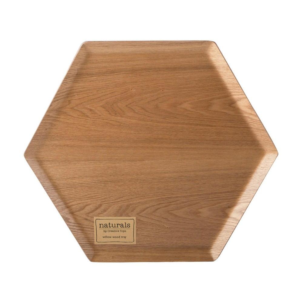 Drevený podnos v tvare šesťuholníka Creative Tops, Ø 36 cm