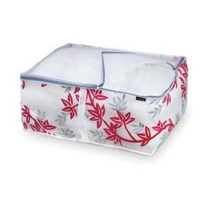 Červeno-biely úložný box na paplón Domopak Living, 25x55cm