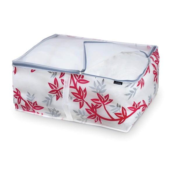 Červeno-biely úložný box na paplóny Domopak Living, dĺžka55 cm