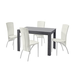 Set jedálenského stola a 4 bielych jedálenských stoličiek Støraa Lori Nevada Slate White
