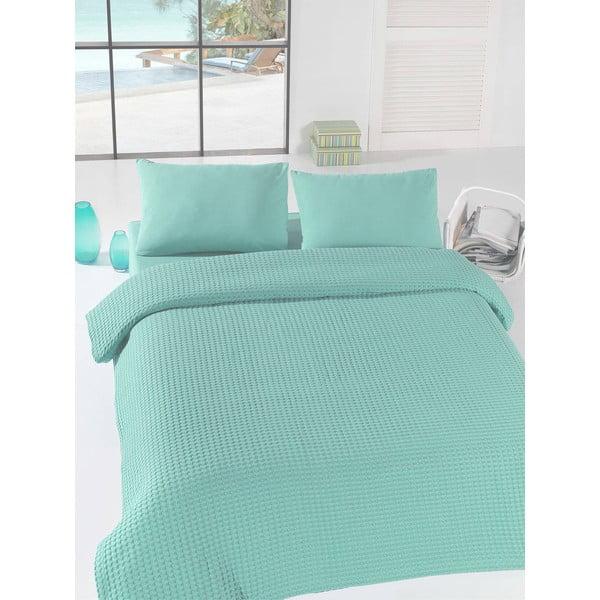 Svetlozelený ľahký pléd cez posteľ Mint Pique, 200x235cm