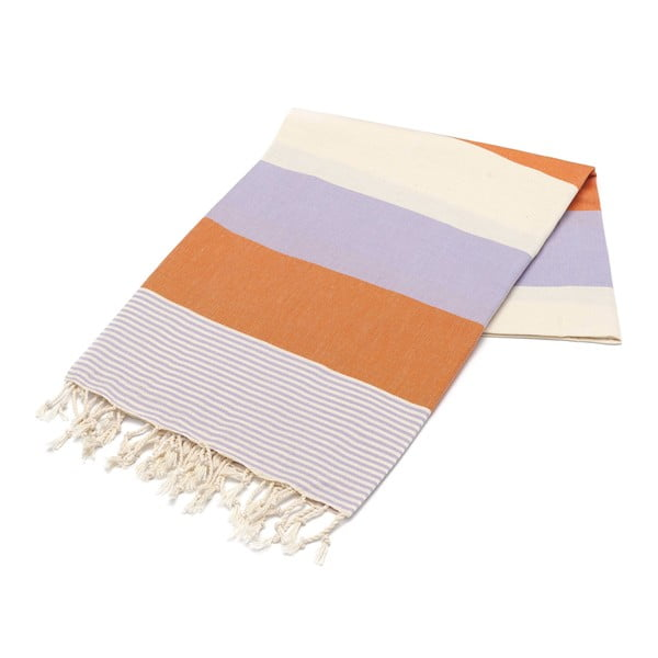 Hammam osuška American Stripes Orange & Lilac, 100 x 180 cm