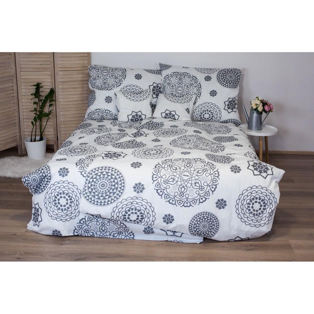Bielo-sivé bavlnené posteľné obliečky Cotton House Mandala, 140 x 200 cm