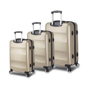 Sada 3 cestovných kufrov na kolieskach s USB porty v zlatej farbe My Valice LASSO Travel Set