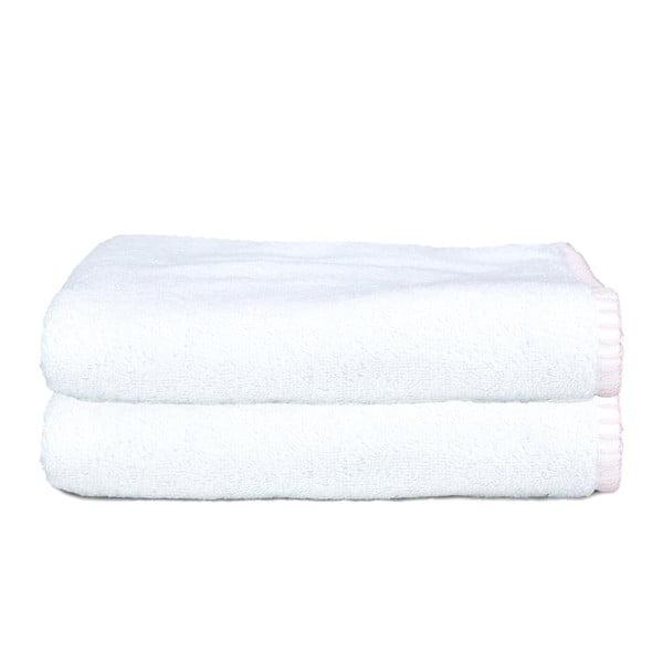 Sada 2 uterákov Whyte 50x90 cm, biela/ružová