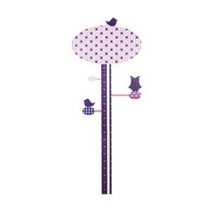 Nástenné detské fialové meradlo výšky Sebra Lilac Tree, až do výšky 130 cm