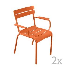 Sada 2 oranžových stoličiek s opierkami na ruky Fermob Luxembourg
