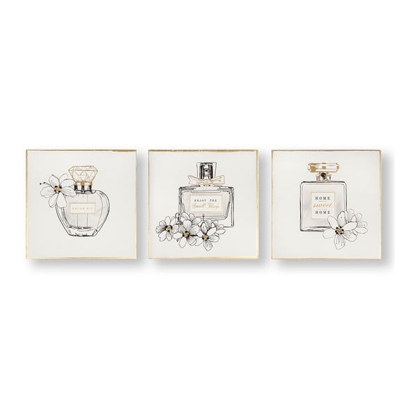 Sada 3 obrazov Graham & Brown Pretty Perfume Bottles, 30×30 cm