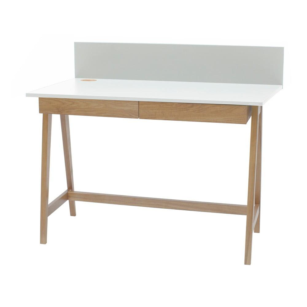 Biely písací stôl s podnožím z jaseňového dreva Ragaba Luka, dĺžka 110 cm