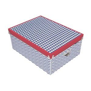 Červeno-modrý úložný box Incidence Nautic Mix, 34,5 x 26 cm