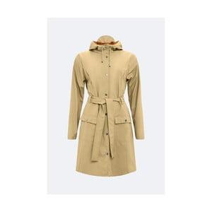 Béžový dámsky plášť s vysokou vodoodolnosťou Rains Curve Jacket, veľkosť L/XL