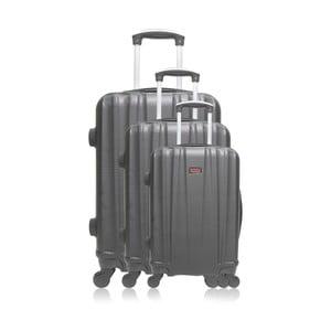 Sada 3 sivých cestovných kufrov na kolieskach Hero Jackson