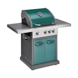 Zelený plynový gril s 3 samostatne ovládateľnými horákmi, teplomerom a bočným ohrievačom Jamie Oliver Pro