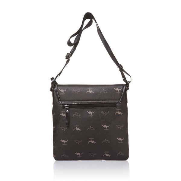 Kožená kabelka s dlhým popruhom Canguru Louis, čierna