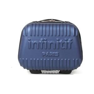 Modrý kozmetický kuforík s potlačou INFINITIF Paris, 12l