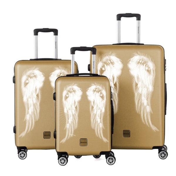 Sada 3 cestovných kufrov v zlatej farbe Berenice Wings