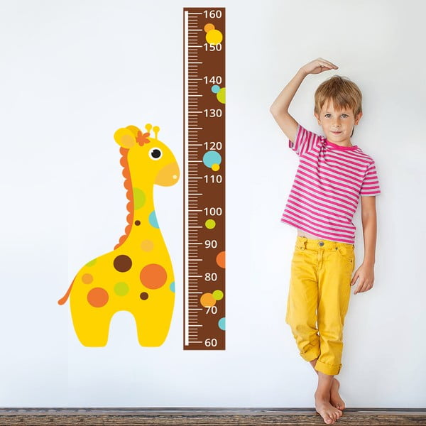 Samolepkový meter na stenu Žirafa s bodkami, 160 cm