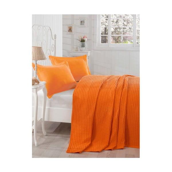 Ľahká prikrývka cez posteľ Boya Orange,200x235cm
