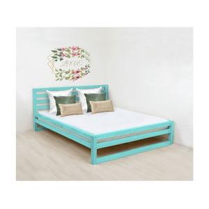 Tyrkysovomodrá drevená dvojlôžková posteľ Benlemi DeLuxe, 200 × 180 cm