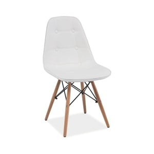 Biela jedálenská stolička z dreva a eko kože Signal Axel