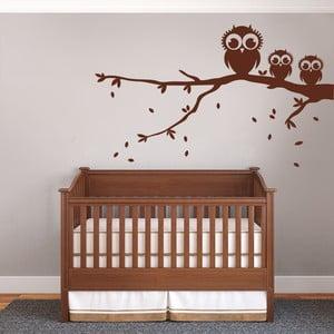 Dekoratívna samolepka na stenu Tri sovy na vetve, hnedá