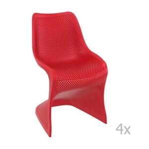 Sada 4 červených záhradných stoličiek Resol Bloom