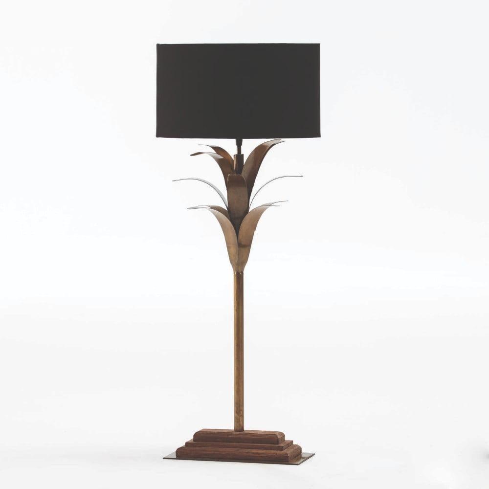 Kovová stolová lampa s čiernym tienidlom Thai Natura, výška 74 cm