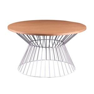 Biely odkladací stolík sdoskou vdekore dubového dreva sømcasa Hugo