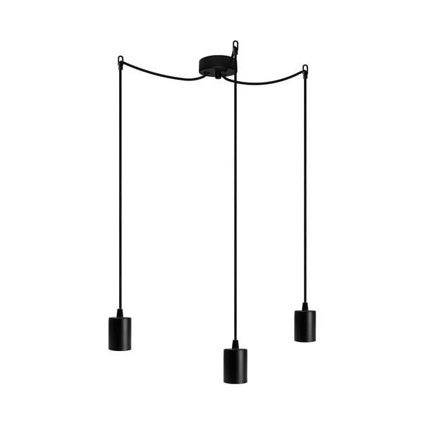 Čierne závesné svietidlo s 3 káblami Bulb Attack Cero