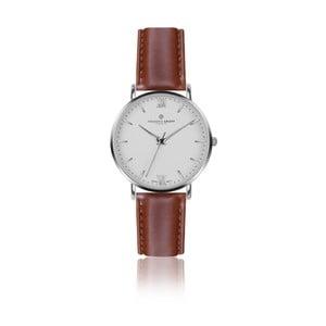 Pánske hodinky s koňakovohnedým remienkom z pravej kože Frederic Graff Silver Dent Blanche Cognac