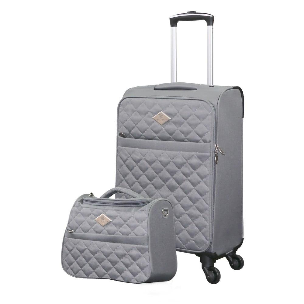 Set sivého cestovného kufra na kolieskach a menšieho kufríka GERARD PASQUIER Valises Cabine & Unity Case