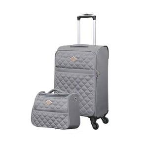 Sada sivého kufra a toaletnej tašky GERARD PASQUIER Adventure, 38 l + 16 l