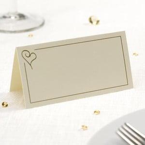 Sada 50 krémových menoviek na stôl Neviti Simply Love