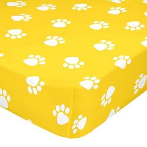 Žltá elastická bavlnená plachta Mr. Fox Dogs, 90 × 200 cm