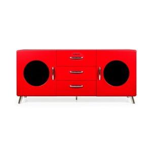 Červená komoda so sklenenými otvormi Tenzo Cobra, šírka 163 cm