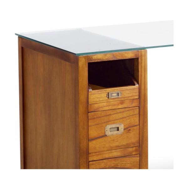 Písací stôl z dreva mindi se skleněnou deskou Moycor Star