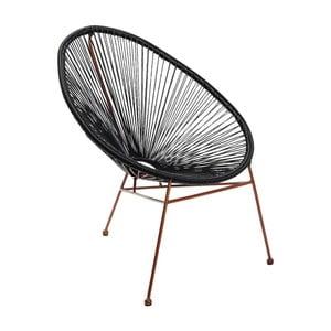 Čierna stolička s detailmi v medenej farbe Kare Design Spaghetti Copper Black
