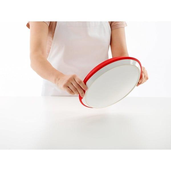 Forma na obrácený koláč s keramickým tanierom, červená