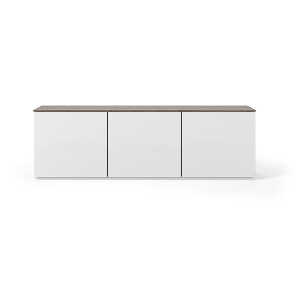 Biely matný televízny stolík se světle hnedou doskou TemaHome Join, 180 × 57 cm
