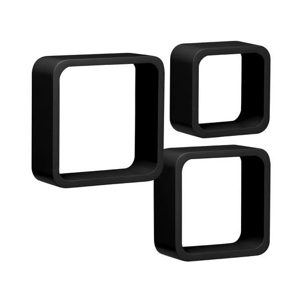 Set 3 políc Cubes, čierny