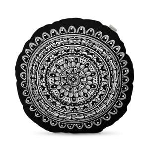 Čierny vankúš HF Living Mandala, ⌀ 50 cm