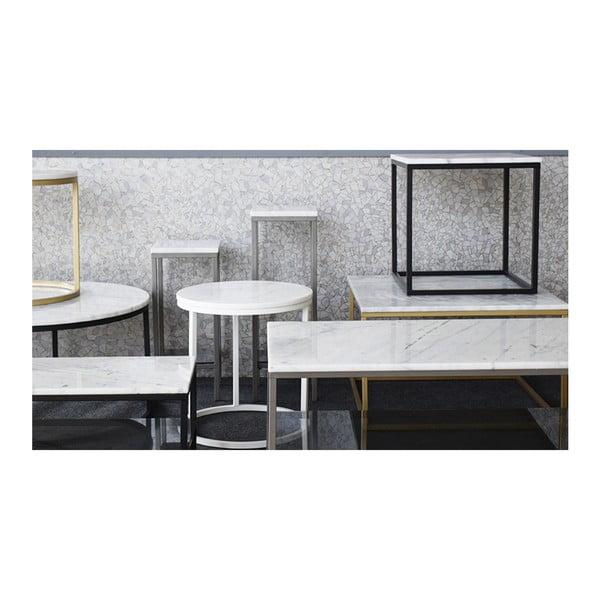 Mramorový odkladací stolík s konštrukciou vo farbe mosadze RGE Accent, ⌀85 cm