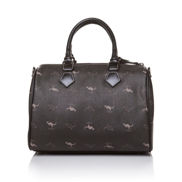 Kožená kabelka do ruky Canguru Kangaroo, čierna