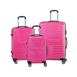 Sada 3 ružových cestovných kufrov na kolieskách so zámkom SINEQUANONE