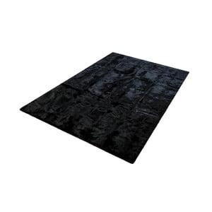 Čierny koberec z králičej kože Pipsa Blanket, 180×120 cm