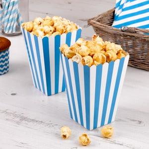 Sada 8 modrých papierových škatuliek na popcorn Neviti Carnival Stripes