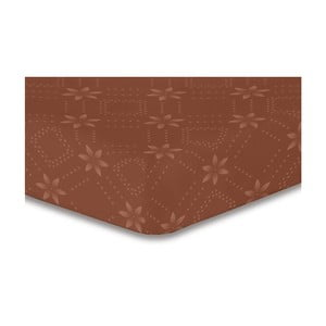 Hnedá elastická plachta so vzorom DecoKing Hypnosis Snowynight, 200×220 cm